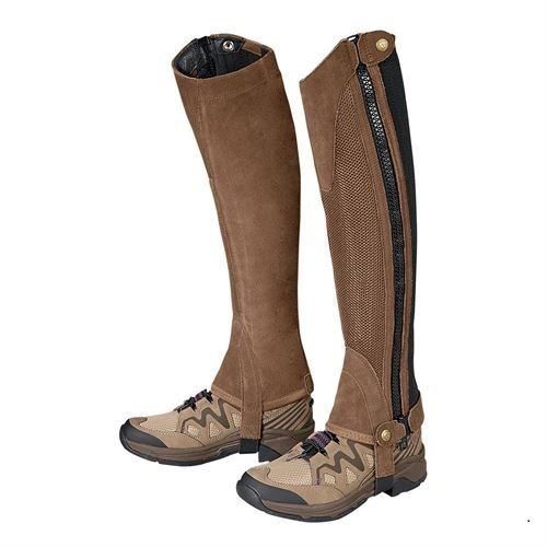 Tough-1 Breathable Half Chaps Mesh Calf Synthetic Suede and Full Length Zip