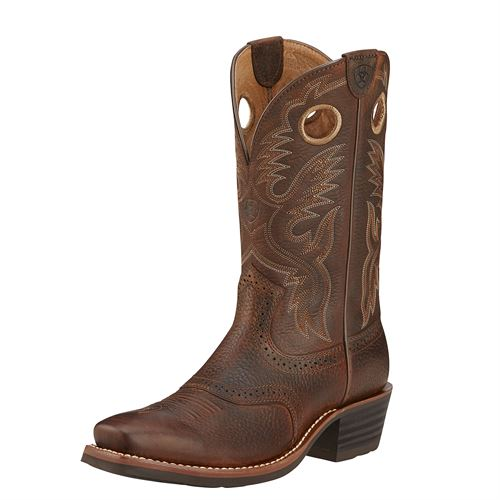Ariat® Men's Heritage Roughstock Western Boots in Brown Oiled Rowdy
