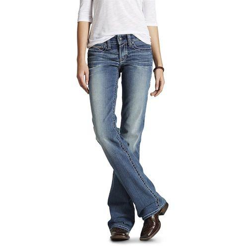 Ariat® Ladies' R.E.A.L. Mid-Rise Stretch Whipstitch Boot Cut Jean in Rainstorm