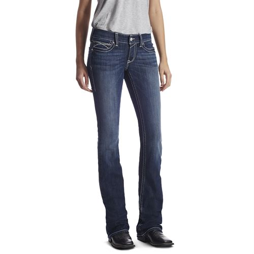 Ariat® Ladies' R.E.A.L. Low-Rise Stretch Rosy Whiptstitch Boot Cut Jean in Lakeshore
