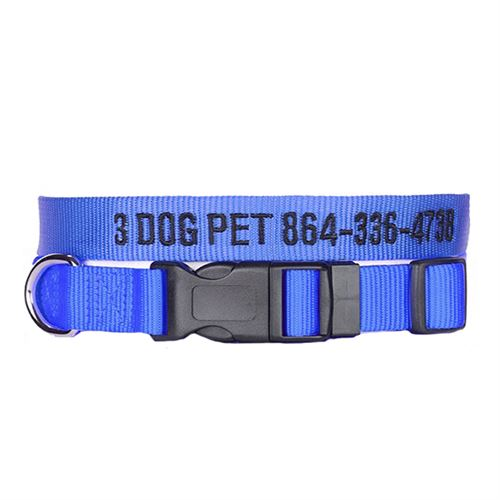 "3 Dog Pet Supply 3/4"" Wide Personalized Adjustable Dog Collar"