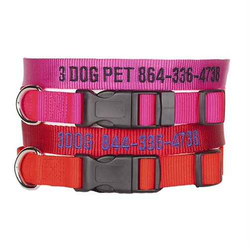 "3 Dog Pet Supply 3/4"" Wide Personalized Dog Collar Combo - 2"