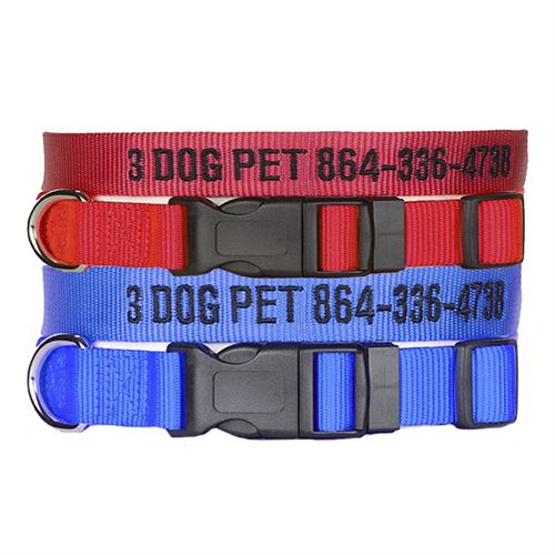 "3 Dog Pet Supply 1"" & 3/4"" Wide Personalized Dog Collar Combo - One of Each"
