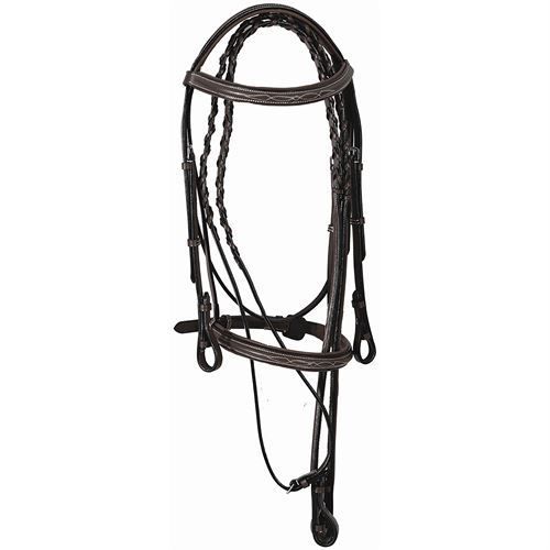 Henri de Rivel Pro Fancy Raised Comfort Crown Padded Bridle with Fancy Raised Reins