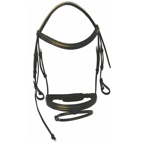 Henri De Rivel Padded Raised Dressage Bridle with Jawband Crank And Flash With Web Reins