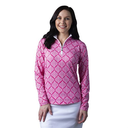SanSoleil™ Ladies' SolCool® Print Long Sleeve Mock Neck Shirt