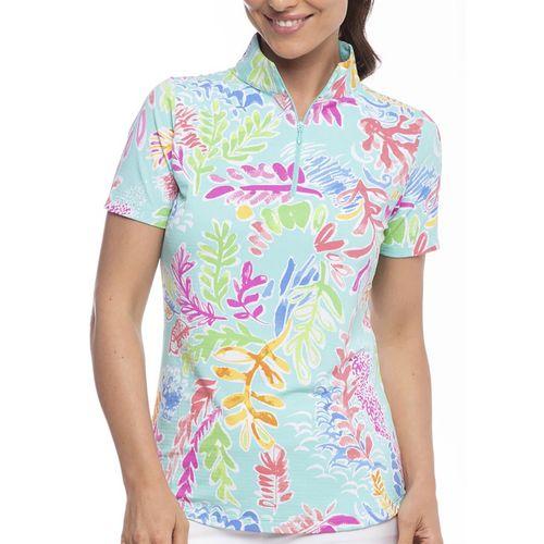 IBKUL™ Ladies' Print Short Sleeve Mock Neck Top