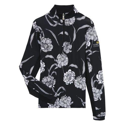 Kastel Denmark Ladies'Charlotte Quarter-Zip Long Sleeve Flower Print Shirt