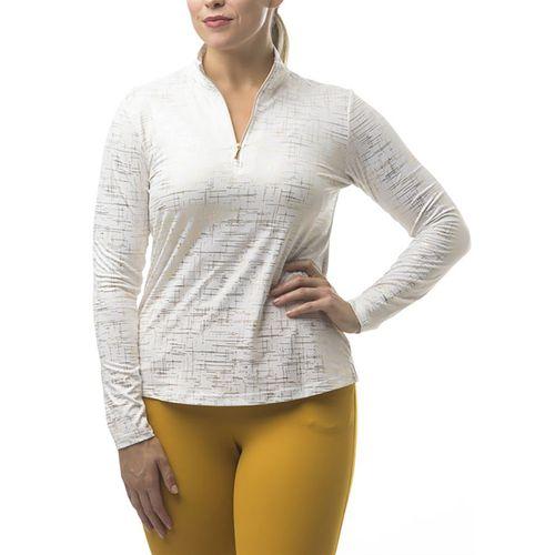 SanSoleil™ Ladies' SolShine® Foil Print Long Sleeve Mock Neck Top