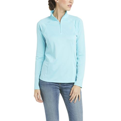 Ariat® Ladies' Sunstopper Quarter-Zip Long Sleeve Solid Shirt 2.0