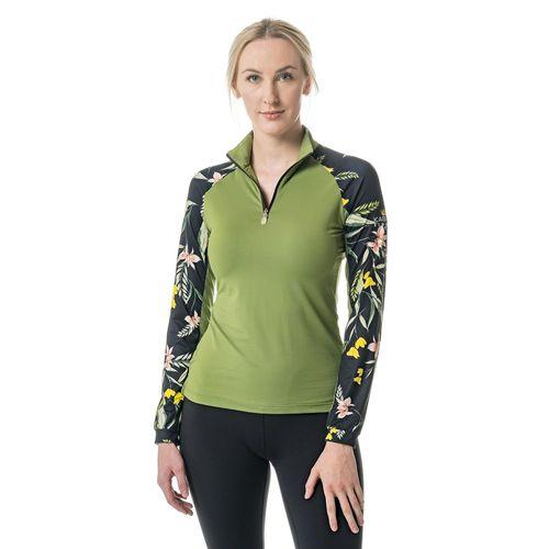 Kastel Denmark Ladies' Tropical Print Willow Green Long Sleeve Shirt