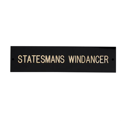 Rectangular Black and Brass Stall Plate- 1-2 Lines