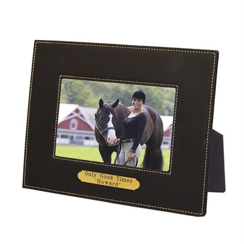 """Perri's® Leather Picture Frame with Nameplate - 4"""" x 6"""""""