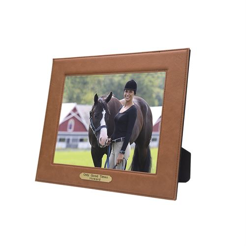 """Perri's® Leather Picture Frame with Nameplate - 8"""" x 10"""""""