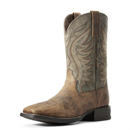 Ariat® Men's Amos Western Boots in Sorrel Crunch/Army Green