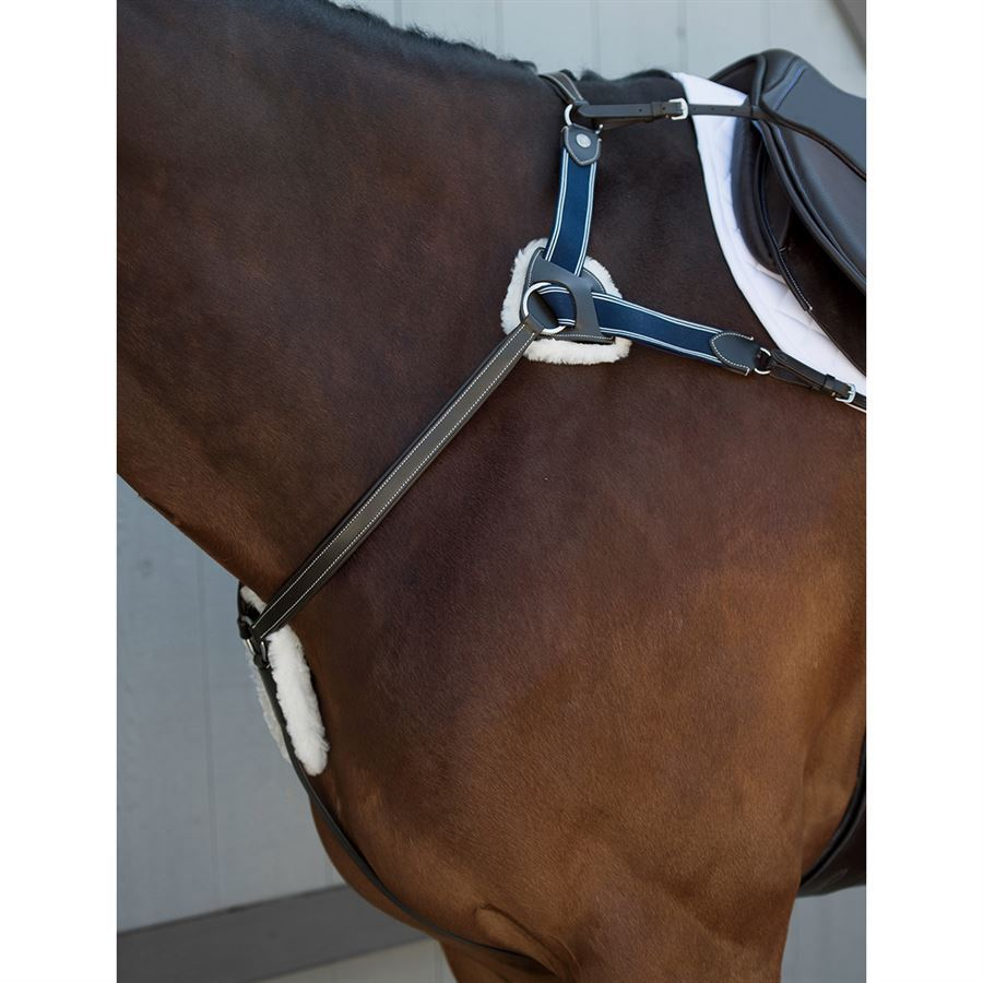 5 Point V Check Breastplate with Real Sheepskin Pressure Pads Full Size