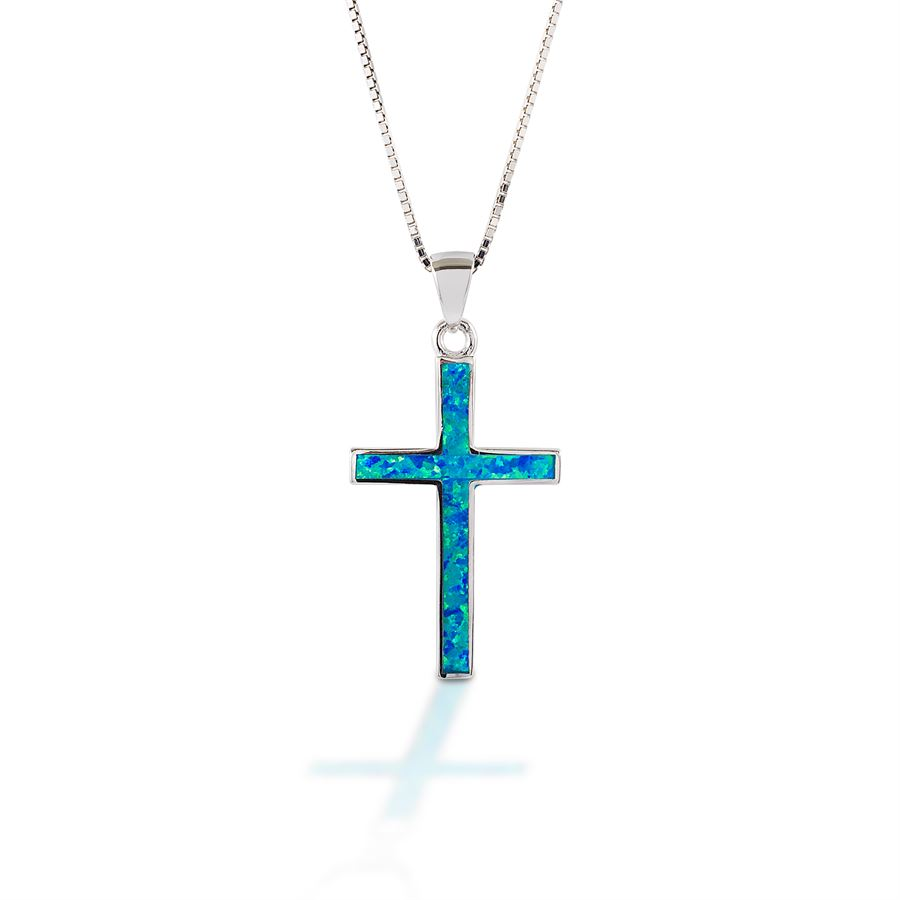 Blue Opal and Sterling Silver Cross Pendant and Earrings