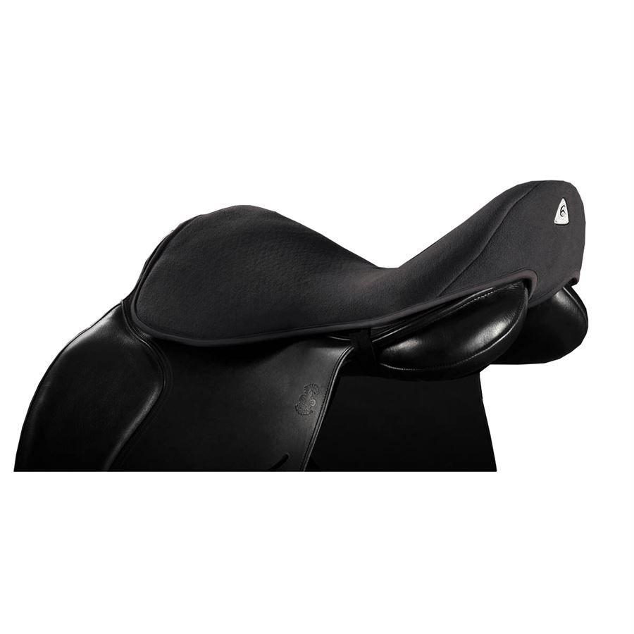 Black Large Dressage Acavallo Ortho Coccyx Gel in Dri-Lex Seat Saver