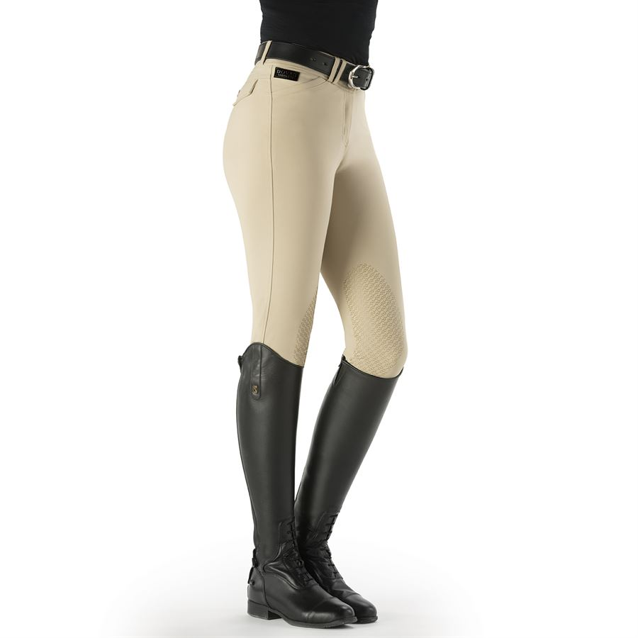 SXC Equestrian Easy Pull On Breeches Leggings Riding Suede Tech Knee Contour